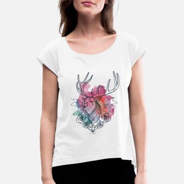 Abstract Deer Deer abstract - Women's T-Shirt with rolled up sleeves