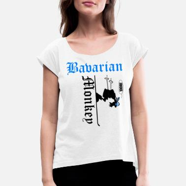Officialbrands Bavarian monkey on ski yodel - Women's Rolled Sleeve T-Shirt