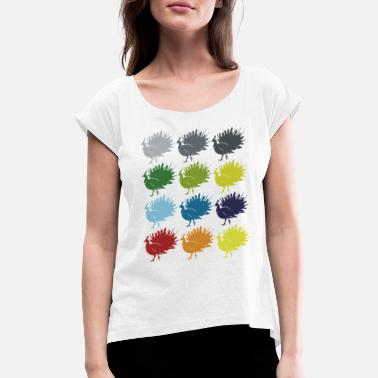 Pheasant Neon Pop Art Retro Peacock Bird Gift Idea - Women's Rolled Sleeve T-Shirt
