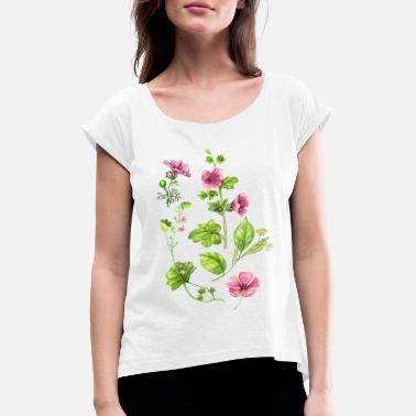 Botanical Botanical, flower, flowers, floral motif, botany - Women's Rolled Sleeve T-Shirt