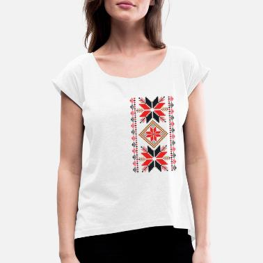 Folk Ornament - Women's T-Shirt with rolled up sleeves