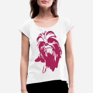 Chewbacca chewbacca monster fur hair star friend beard lase - Women's Rolled Sleeve T-Shirt