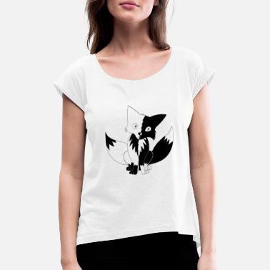 Black&White Fox - Women's Rolled Sleeve T-Shirt