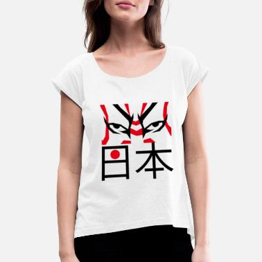 Japanese Theatre Kabuki Eyes - Women's Rolled Sleeve T-Shirt