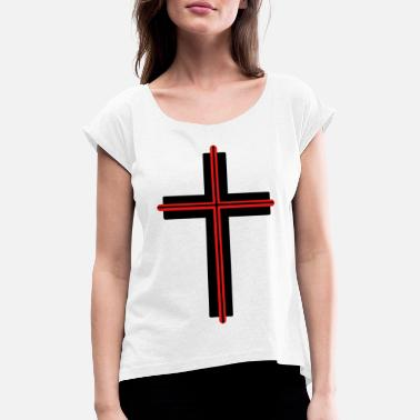 Jesus Symbol Cross church god jesus symbols - Women's Rolled Sleeve T-Shirt