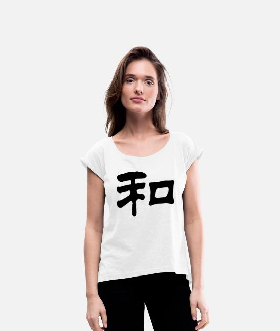 Symbol  T-Shirts - Chinese Peace 4 (NEU, 1c) - Women's Rolled Sleeve T-Shirt white