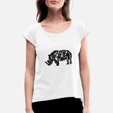 Love Africa rhino - Women's T-Shirt with rolled up sleeves