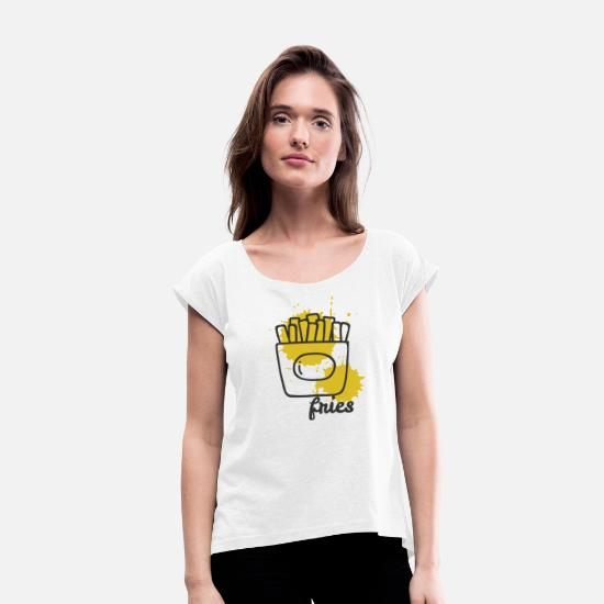 Gift Idea T-Shirts - fries pommes mustard imbis food gift - Women's Rolled Sleeve T-Shirt white