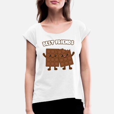 Friends Best Friends chocolate - Women's Rolled Sleeve T-Shirt