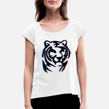 Anaglyph 3d anaglyph tiger wood - Women's Rolled Sleeve T-Shirt