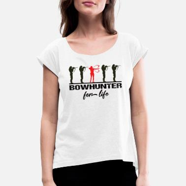 Recurve Archer Bowhunter Archery Gifts - Women's Rolled Sleeve T-Shirt