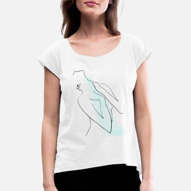 Linear abstract woman - Women's Rolled Sleeve T-Shirt