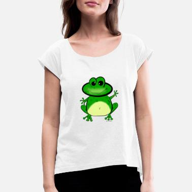 Baby Frog Baby frog waving as a frog gift idea - Women's Rolled Sleeve T-Shirt
