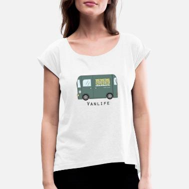 Curtain Van with stylized curtain - Women's Rolled Sleeve T-Shirt