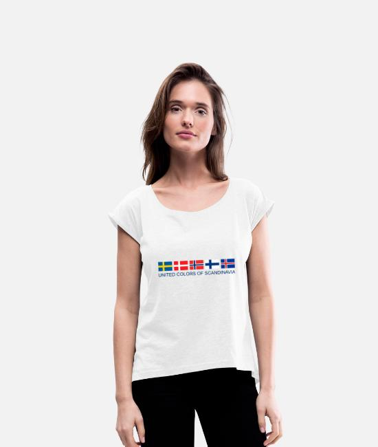 Nordic T-Shirts - United Colors Of Scandinavia | Scandinavia flag - Women's Rolled Sleeve T-Shirt white