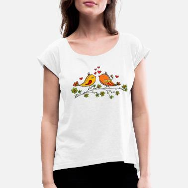 Valentine's Day Birdie Love, Heart, Bird, Valentines Day - Women's Rolled Sleeve T-Shirt