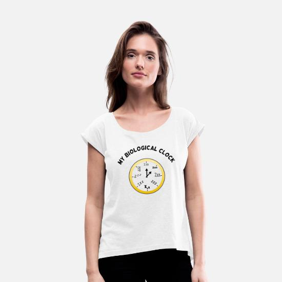 Müde T-Shirts - My Biological Clock Transparent - Frauen T-Shirt mit gerollten Ärmeln Weiß
