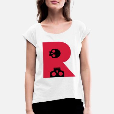 Goth ☠♥Awesome Skull Alphabet Initial Letter-R♥☠ - Women's Rolled Sleeve T-Shirt