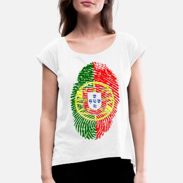 Portugal Portuguese PORTUGAL PORTUGUESE FOOTBALL WORLD CHAMPIONSHIP - Women's T-Shirt with rolled up sleeves
