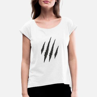 Tiger Claw tiger stripes tiger cat marks claws gift - Women's T-Shirt with rolled up sleeves