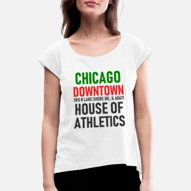 Windy City Chicago Downtown - Athletics House - Illinois - T-shirt med upprullade ärmar dam