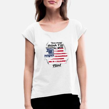 Flint THERAPY HOLIDAY AMERICA USA TRAVEL Flint - Women's Rolled Sleeve T-Shirt
