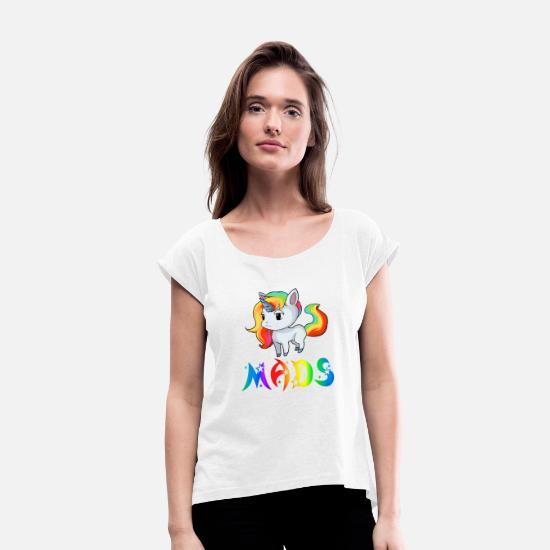 Mads T-Shirts - Unicorn Mads - Women's Rolled Sleeve T-Shirt white