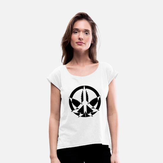 Hemp T-Shirts - hemp cannabis kiffen marijuana hemp grass gras55 - Women's Rolled Sleeve T-Shirt white