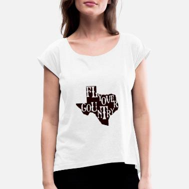 Countrymusic flyover country black - Women's Rolled Sleeve T-Shirt