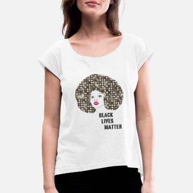 Trend black woman afro disco 70s face party dance fun r - Women's Rolled Sleeve T-Shirt