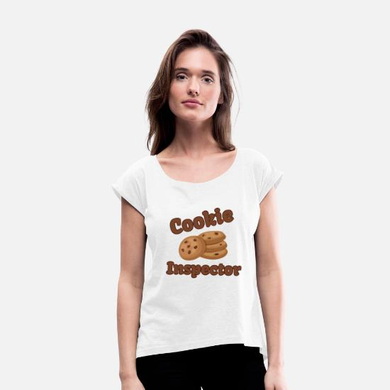 Coffee Bean T-Shirts - COOKIE INSPECTOR - Women's Rolled Sleeve T-Shirt white