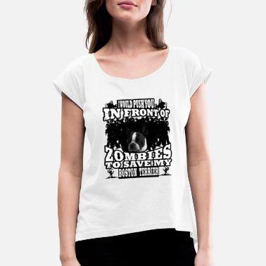 We Are Boston zombie boston terrier - Women's Rolled Sleeve T-Shirt
