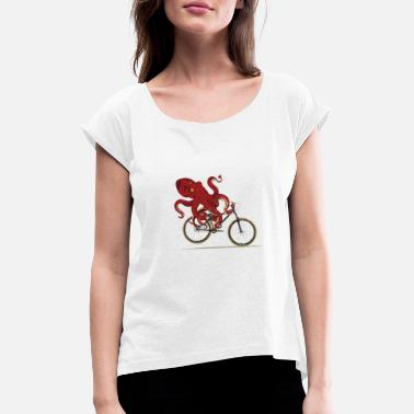 Xmas Cycling Octopus Bicycle Enthusiast Invertebrate - Women's Rolled Sleeve T-Shirt