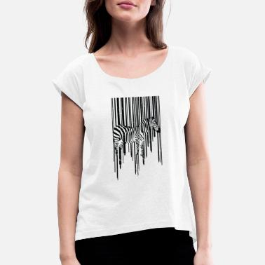 Animal Planet Animal Zebra Scancode Planet Hypnosis 3D - T-shirt à manches retroussées Femme