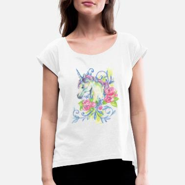 UNICORN WATERCOLOR - Women's Rolled Sleeve T-Shirt
