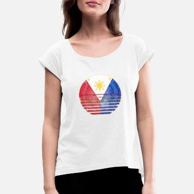 Philippines medallion Filipino flag I gift - Women's Rolled Sleeve T-Shirt