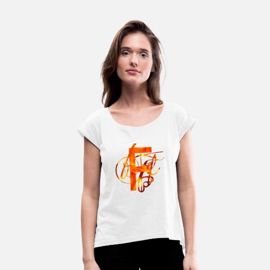Alphabet T-Shirts - Branded F - Women's Rolled Sleeve T-Shirt white
