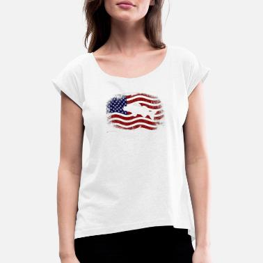 Walleye Fishing Patriotic Fisherman Walleye Fishing American Flag - Women's T-Shirt with rolled up sleeves