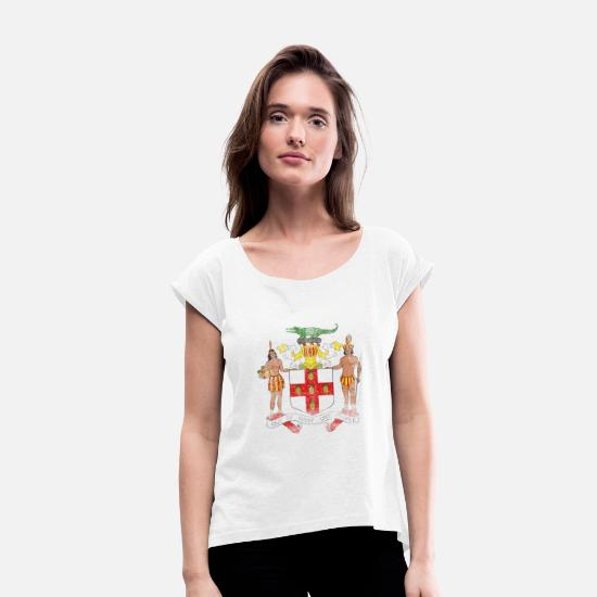 Jamaica T-Shirts - Jamaica Coat of Arms Jamaica Symbol - Women's Rolled Sleeve T-Shirt white