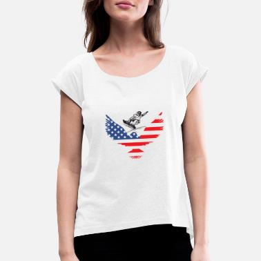 Snowboarding USA | America | Mountain sports | Sports | - Women's Rolled Sleeve T-Shirt