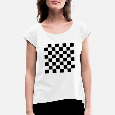 Checkerboard checkerboard - Women's T-Shirt with rolled up sleeves