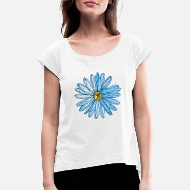 Marguerite Flower blue triangle polygon art - Women's Rolled Sleeve T-Shirt
