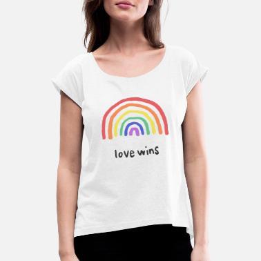 Rainbow Love Graphic Love Wins Rainbow - Women's Rolled Sleeve T-Shirt