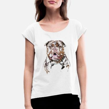 Olde English Bulldog Old English Bulldog - Frauen T-Shirt mit gerollten Ärmeln