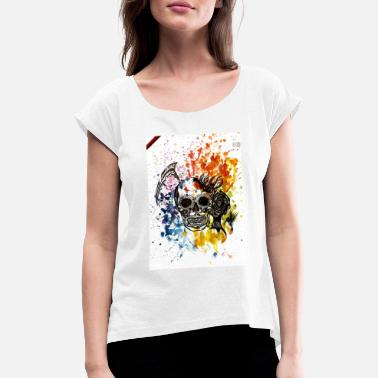 New Artist Clothing Skull / Skull with black ink and paint - Women's Rolled Sleeve T-Shirt