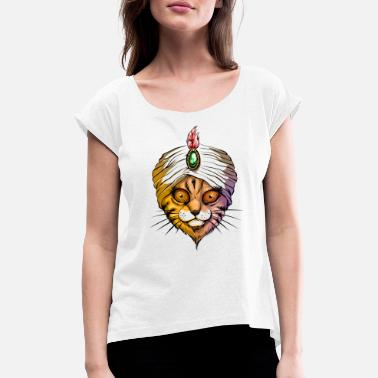 Hypnosis Fakir cat - Women's Rolled Sleeve T-Shirt