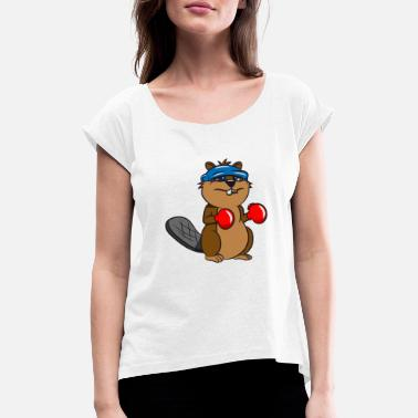 Rodent Beaver tooth boxing funny sport wood dam water whale - Women's Rolled Sleeve T-Shirt