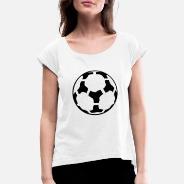 Soccer Ball football / soccer ball - T-skjorte med rulleermer for kvinner