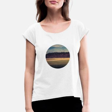 Scenic Landscape Trees Meadow Sky Scenic - Women's Rolled Sleeve T-Shirt