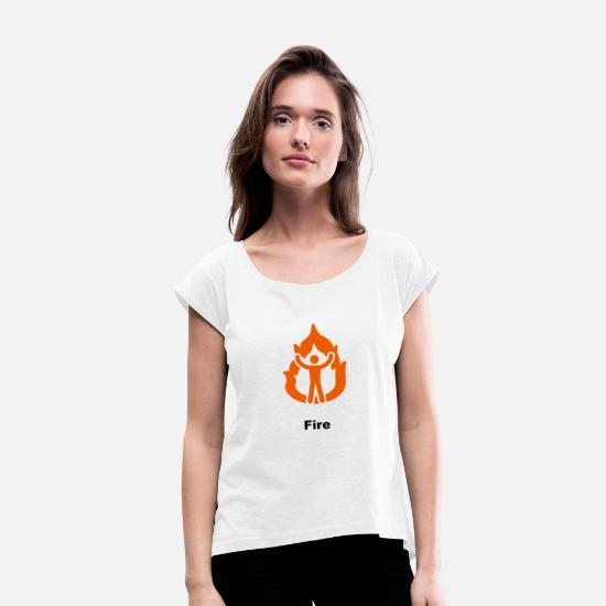 Icon T-shirts - Fire Icon Orange - T-shirt med rulleærmer dame hvid